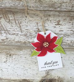 Thank You Poinsettia Tag by Laurie Willison for Papertrey Ink (October 2014)