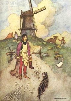 Puss in Boots illustration by Warwick Goble.