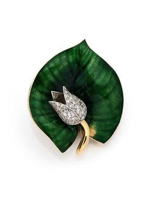 A DIAMOND, ENAMEL, PLATINUM AND YELLOW GOLD BROOCH BY BOUCHERON, CIRCA 1960