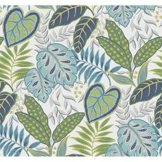 Jasmine Aegean Botanical Wallpaper by Sarah Richardson Add a touch of tropical flair to a room with this lively botanical wallpaper. Printed in a matte finish, the green, navy, and turquoise leaves feel rejuvenating over a crisp white base. Tropical Wallpaper, Botanical Wallpaper, Wallpaper Roll, Botanical Art, Pattern Wallpaper, Sarah Richardson, Brewster Wallpaper, Wallpaper Warehouse, Flora Design