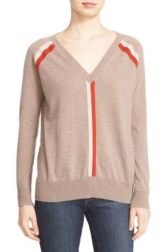 Stripe V-Neck Cashmere Sweater