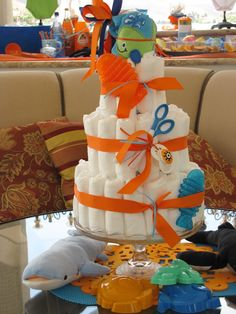 fish decorations for baby shower | The dessert buffet was full of colorful cupcakes and candy for the ...