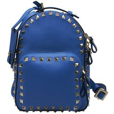 Valentino Rockstud Blue Leather Backpack (9467015 PYG) ❤ liked on Polyvore featuring bags and backpacks