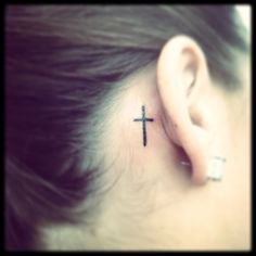 Cross tattoo behind ear. Matching one with the best friend :)