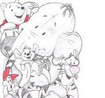 Winnie-the-Pooh sketch - SO CUTE! It even has Lumpy! And, of course, PIGLET!
