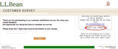 L.L.Bean Customer Satisfaction Survey, www.llbeanfeedback.com