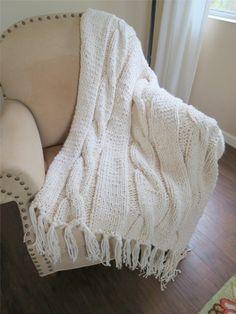 Knit Blanket Pattern, Chunky Blanket Pattern, Chunky Knit Blanket Pattern – The Georgia Throw – Knitting Patterns by Deborah O'Leary – Knitting Blanket Easy Blanket Knitting Patterns, Knitted Afghans, Knitted Blankets, Baby Blankets, Chunky Knit Throw, Chunky Blanket, Loom Blanket, Chunky Crochet, Crochet Yarn