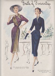For those of you who are sick and tired of vintage fashions, you are in luck as I have only one more week's worth of Modes Royale patterns to show you! As I said last week, I Vintage Fashion 1950s, Mode Vintage, Vintage Fur, Vintage Looks, Retro Fashion, Victorian Fashion, Fashion Fashion, Vintage Style, Vintage Ladies