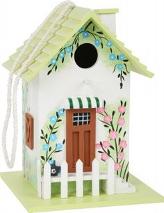 This mint-coloured wooden birdhouse is a great retreat for birds with its lovingly detailed decorations and flowery painting that also make it a lovely adornment for the garden or terrace. This beautiful house serves not only as a nesting house, b Mud Kitchen, Pastel, Mint Color, Bird Houses, Beautiful Homes, Birds, Holiday Decor, Outdoor Decor, Christmas