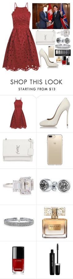 """Joining the Prime Minister Trudeua in Toronto."" by duchessamparo ❤ liked on Polyvore featuring Chi Chi, Dsquared2, Yves Saint Laurent, Speck, Fantasia by DeSerio, Bling Jewelry, Givenchy, Chanel and Marc Jacobs"
