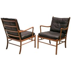 Pair of Colonial Chairs in American Walnut by Ole Wanscher | From a unique collection of antique and modern lounge chairs at https://www.1stdibs.com/furniture/seating/lounge-chairs/