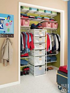 To design kids' closet storage that grows with them, opt for wire closet organizers. The repositionable components can easily be rearranged to accommodate bigger clothing and different types of accessories. Need more hanging space? Reassign a slide-out drawer unit as an organizer and add another clothes rod in the closet. Many systems have specialty pieces you can add later, such as shoe shelves and hanging baskets.