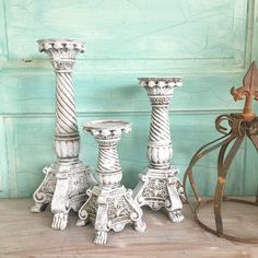 Click here for Ornate Candle Holders Shabby Chic White Distressed Candlestick Holders Wedding Table Centerpiece Set 3 - Hallstrom Home