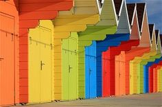 Colorful beach huts at Scarborough, north Yorkshire.
