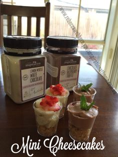 Mini cheesecakes made with YIAH preservative free chocolate powders..great for in home tasting