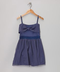 Take a look at this Navy Crocheted Bow Dress - Toddler & Girls on zulily today!