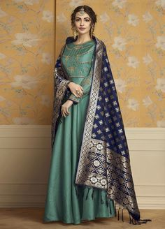 0ed5c6051a Sea Green Floor Length Tussar Satin Embroidered Gown