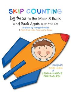 Here's a space themed activity for skip counting by 2s from 2 to 48.