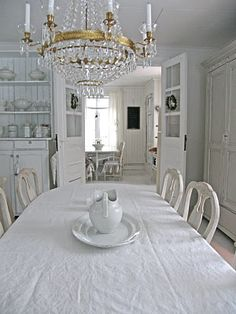 A Dining-room Inspiration Post Our Winter break in Brittany is about to end and all my best laid plans to do huge things in the dining-r. All White Room, White Rooms, Dining Room Inspiration, Interior Design Inspiration, Interior Exterior, Interior Architecture, Swedish Interiors, White Interiors, Beautiful Interiors