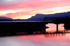 Sunset in the Columbia Gorge after our Lower Wind paddle.