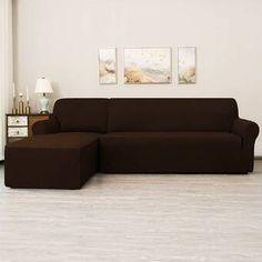 Ebern Designs L-Shaped Right 2 Piece Box Cushion Sofa Slipcover Set & Reviews | Wayfair Sectional Couch Cover, Cushions On Sofa, Wingback Chair Slipcovers, Living Room Furniture, Living Room Decor, L Shaped Sofa, Box Cushion, Sofa Covers, Stores