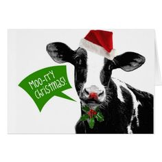 Funny Holiday Cow Merry Moo-rry Christmas Card - click to get yours right now!