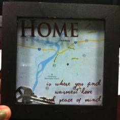 Our first home shadow box! Only $6!   $5 shadow frame from Fred's Free map printed from google $1 copy key from Home Depot