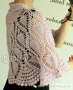 Crochet bolero — Crochet by Yana T-shirt Au Crochet, Poncho Au Crochet, Crochet Bolero, Beau Crochet, Pull Crochet, Crochet Collar, Crochet Shirt, Lace Patterns, Easy Crochet Patterns
