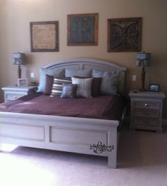 Headboard/Footboard and nightstands painted in Annie Sloan Paris Gray and Providence by High Style ReStyle.    See more furniture ReStyles at http://www.highstylerestyle.com/