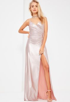Missguided - Galore Pink Metallic Drape Wrap Maxi Dress