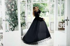 """Белье ручной работы. Черное будуарное платье """"Герцогиня"""" из шелка армани с шантильи. Мила Манина. Ярмарка Мастеров. Будуар"""