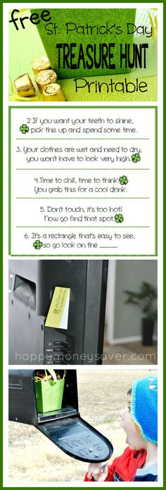 This is so much FUN!! A FREE printable St. Patricks Day Treasure hunt with printable clues. I can't wait to do this for my kids. happymoneysaver.com