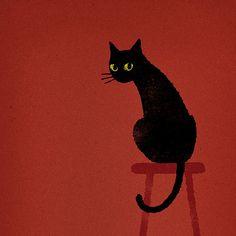Chie Katayama illustration.Black cat. #illustration #draw #art #cat #イラスト #イラストレーション #猫