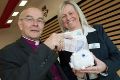 Bishop Mark with Prince Bishops Community Bank CEO - Lesley Richardson.