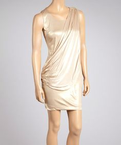 Loving this Gold Foil Draping Sleeveless Dress on #zulily! #zulilyfinds