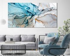 Large Marble Art Marble Canvas Print Beautiful Abstract Art Modern Wall Decor Large Canvas Art Ink Painting Print Tender Art by ExtraLargeWallArts Large Canvas Art, Diy Canvas Art, Large Wall Art, Wall Canvas, Canvas Prints, Art Bleu, Bel Art, Art Sur Toile, Grand Art