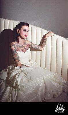 Rock and Roll Bridal Inspiration Brides With Tattoos, Tattooed Brides, Tattooed Women, On Your Wedding Day, Dream Wedding, Wedding Stuff, Rock And Roll Tattoo, Rockabilly Wedding, Dress Stand