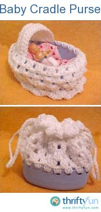 This is also sometimes called a Church Purse. It is crocheted using a dishwashing detergent bottle for a base. Any oval bottle will work. When it is closed it is a purse, and opened it is a baby cradle.
