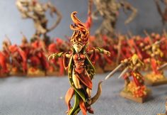 Very cool, autumnal elves. Not really my style, but I do like it.  Warhammer Wood Elf Army - Best Painted