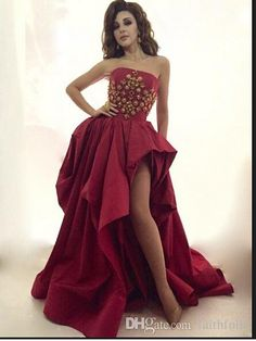 Hot 2015 Sexy Arabic Dubai Evening Prom Dresses With Beaded Ruffle Side Slit a Line Evening Party Gowns Robe De Soiree Strapless Prom Dresses, High Low Prom Dresses, Plus Size Formal Dresses, Prom Dresses 2015, Cheap Prom Dresses, Casual Dresses, Wedding Dresses, Bride Dresses, Tight Dresses