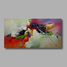 """Ready+to+hang+Stretched+Hand-Painted+Oil+Painting+Canvas++40""""x20""""+Wall+Art+Abstract+Green+Orange+Yellow+Blue+–+AUD+$+84.36"""