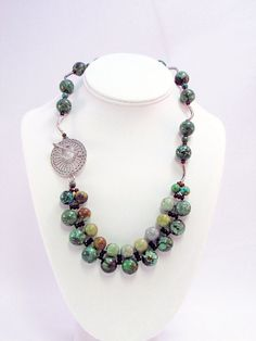 Turquoise and Hill Tribes Silver Necklace  T45 by daksdesigns