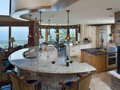 kitchen island ideas with seating | ... circle 520x390 Sleek, Stylish, Colorful and Fun Kitchen Islands Ideas