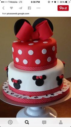 Minnie Mouse Disney Cake - How to make fondant icing and simple cake decorating tips! How to Make Fondant for Cakes. Easy Homemade Rolled Fondant Recipe with tips and cake decorating directions. Minni Mouse Cake, Bolo Do Mickey Mouse, Bolo Minnie, Minnie Cake, Mickey Cakes, Baby Cakes, Cupcake Cakes, Pink Cakes, Simple Fondant Cake