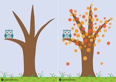 """шаблон для рисования пальчиками, аппликации и лепки с детьми """"Осеннее дерево""""/ fall tree for kids finger painting printable"""