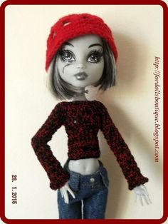 Handmade clothes for Monster High dolls: cap + sweater  (doll not included)