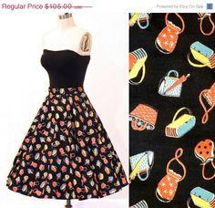 Vintage Purse Print 50s Circle Skirt