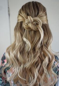Featured Hairstyle: Heidi Marie Garrett; Flawless half up twisted knot wedding hairstyle;