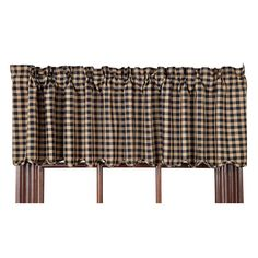 Black Check Scalloped Curtain Valance 72 x from the Nancys Nook collection by Victorian Heart (VHC Brands). This black and khaki check valance is made of 10 Plaid Curtains, Striped Curtains, Drapes Curtains, Primitive Bathrooms, Primitive Kitchen, Primitive Country, Country Bathrooms, Country Kitchen, Country Style Curtains