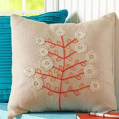 Crewel Embroidery Ideas Stitch It Up. Simple-Sew Pillows - Dress up any room with these creative pillows that are easy on the eyes and effortless to make. Embroidery Designs, Crewel Embroidery, Embroidery Patterns, Embroidery Thread, Embroidery Tattoo, Sewing Pillows, Diy Pillows, Cushions, Sewing Crafts